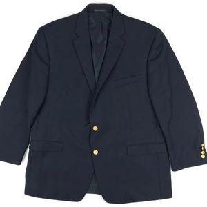 Ralph Lauren Navy Blue Sport Coat Gold Buttons 46R
